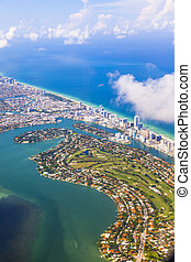 aerial of coastline Miami