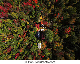 Aerial of cottage in the woods