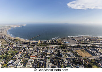 Aerial view of downtown Ventura waterfront in Southern California.