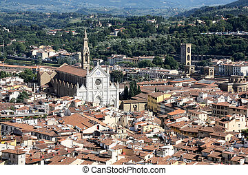 Aerial of Florence, Italy,