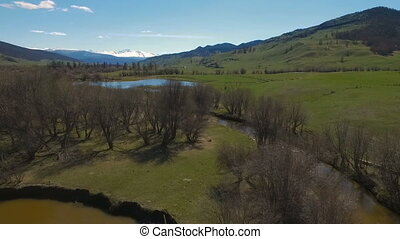 Aerial of flying over trees to mountain lake