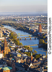 aerial of Frankfurt an Main with view to river Main