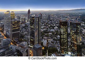 aerial of Frankfurt  by night