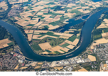 aerial of Gernsheim at River Rhine with Rhine valley