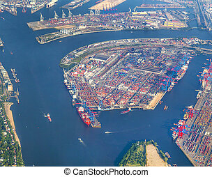aerial of Hamburg, Germany seen from aircraft