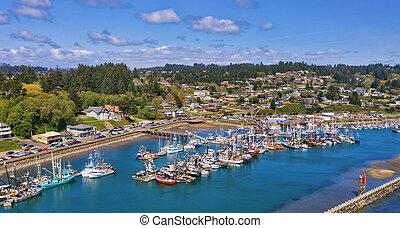 Aerial of harbor in Newport, Oregon