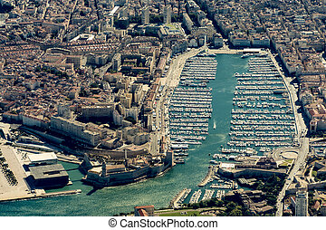 aerial of harbor of Marseilles in France