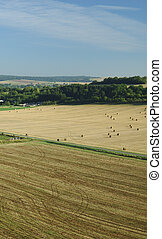 Aerial of harvest fields in summertime, France