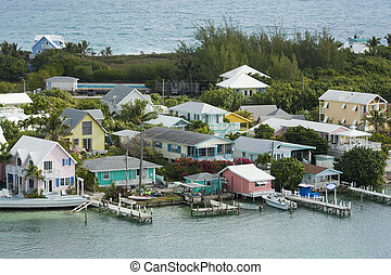 aerial of Hopetown, Bahamas