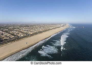 Aerial of Huntington Beach in Southern California