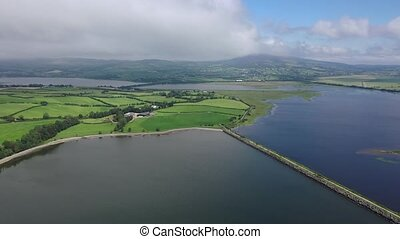 Aerial of Inch isalnd and parts of the Wildfowl Reserve Looped Walk.
