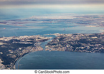 aerial of industrial area of Martigues near Marseilles