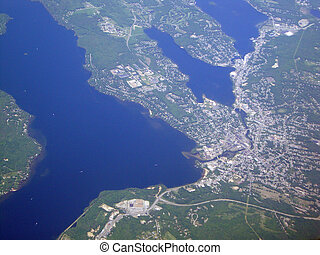 Aerial of Laconia and Lake Winnisquam in New Hampshire.