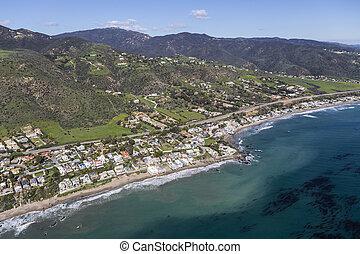 Aerial of Lechuza Beach area in Malibu California