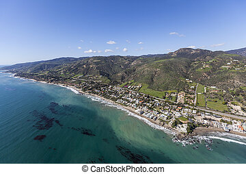 Aerial of Lechuza Beach in Malibu California