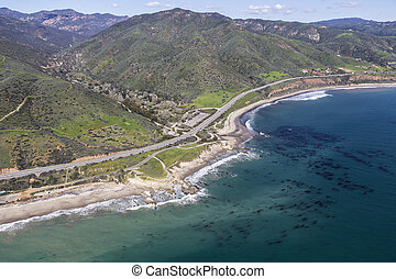 Aerial of Leo Carrillo State Beach near Los Angeles California