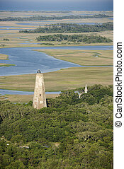 Aerial of lighthouse. - Aerial view of lighthouse on Bald...