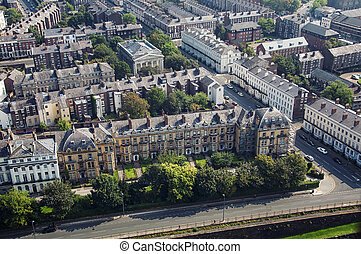 Aerial of Liverpool - Aerial view of Liverpool, UK...