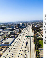 aerial of Los Angeles - view to suburbs of Los Angeles by...