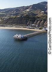 Aerial of Malibu Pier Near Los Angeles in Southern California
