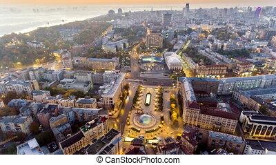 Aerial of Maydan Nezalezhnosti, the central square of Kiev,...