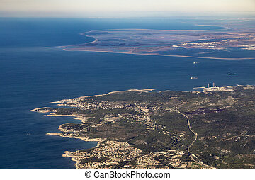 aerial of mediterranean coast near Marseilles, France