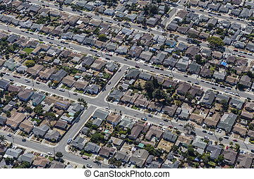Aerial of Middle Class Neighborhood near Oakland California