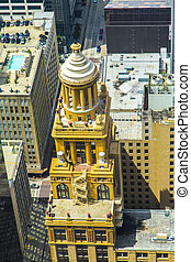 aerial of modern and historic buildings in downtown Houston