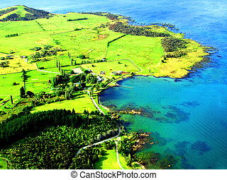 Aerial of Northland Coastline, New Zealand