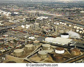 Aerial of oil refinery.