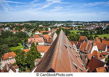 aerial of old medieval city of Dinkelsbuehl, Germany