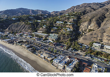 Aerial of Pacific Coast Highway in Malibu California