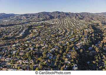 Aerial of Pacific Palisades Neighborhood in Los Angeles California