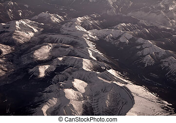 aerial of rocky mountains