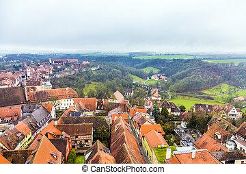 aerial of Rothenburg ob der Tauber in fog