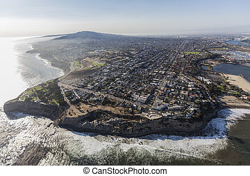 Aerial of San Pedro Coastline in Los Angeles California