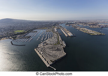 Aerial of San Pedro in Los Angeles California