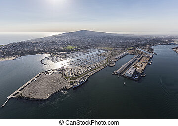 Aerial of San Pedro Shoreline in Los Angeles California