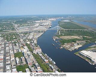 Aerial of Savannah Georgia