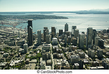 Aerial of Seattle and Capitol Hill - Bright cityscape of ...
