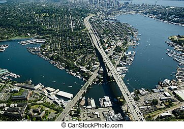 Aerial of Ship Canal and Interstate Bridge