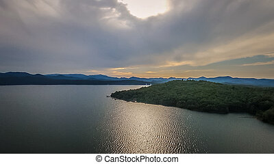 aerial of South Carolina Lake Jocassee Gorges Upstate...