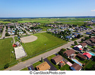 Aerial of sport fields in small town
