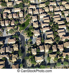 Aerial of suburbs.
