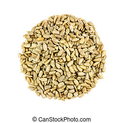 Aerial of sunflower seeds isolated on white