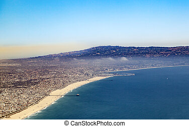 aerial of the beach in Los Angeles