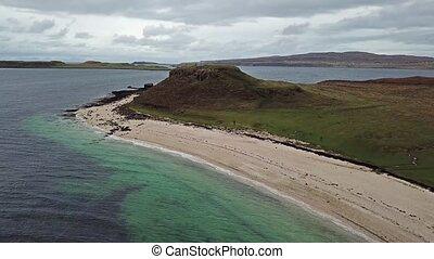 Aerial of the Clagain Coral Beach on the Isle of Skye - Scotland.