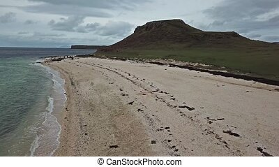 Aerial of the Clagain Coral Beach on the Isle of Skye -...
