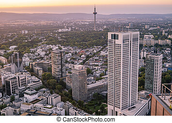 Aerial of the financial district in Frankfurt, Germany - Europe