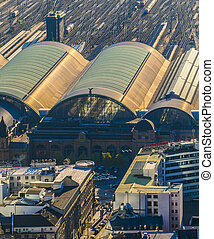 aerial of the Hauptbahnhof in afternoon